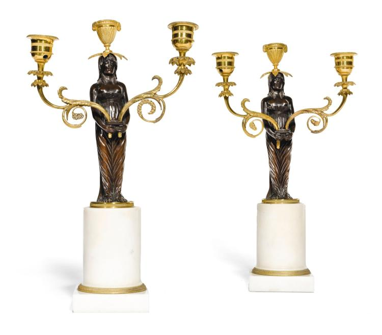 A PAIR OF LOUIS XVI STYLE GILT, PATINATED BRONZE AND MARBLE THREE LIGHT CANDELABRA, LATE 19TH |