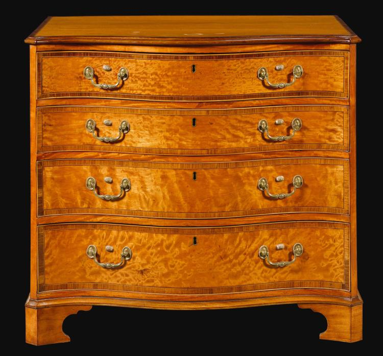 A GEORGE III ROSEWOOD BANDED SATINWOOD SERPENTINE CHEST OF DRAWERS, CIRCA 1780 |