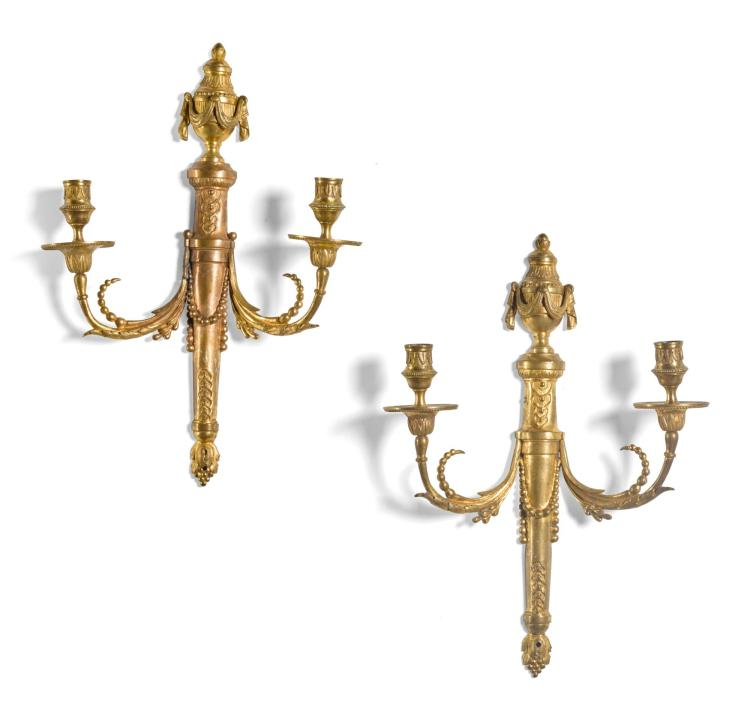A PAIR OF NORTH GERMANGILT BRONZE TWO-LIGHT WALL APPLIQUES 18TH/19TH CENTURY |