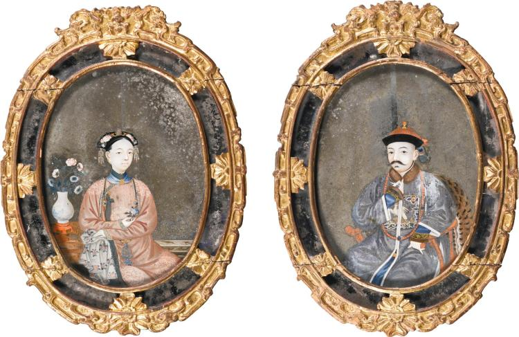 A PAIR OF CHINESE EXPORT REVERSE PAINTED GLASS MIRRORS, EARLY 19TH CENTURY |