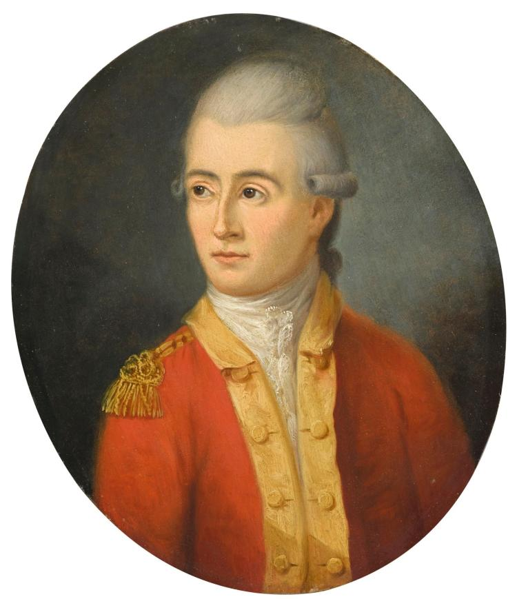 CIRCLE OF FRANCIS ALLEYNE | Portrait of a gentleman, half-length, wearing a red jacket with epaulettes