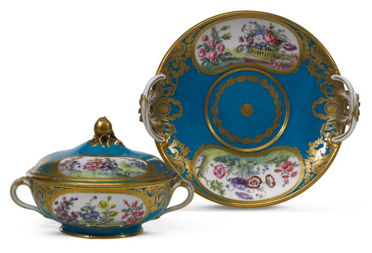 A SÈVRES BLÉU-CELESTE GROUND TWO-HANDLED ÉCUELLE, COVER AND STAND, DATED 1779 |