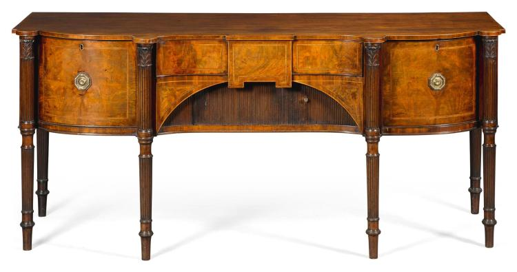 A REGENCY ROSEWOOD BANDED MAHOGANY SIDEBOARD, CIRCA 1810, IN THE MANNER OF GILLOWS |