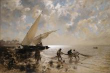 ADOLF VON MECKEL   Fishermen on Lake Mariout, Egypt