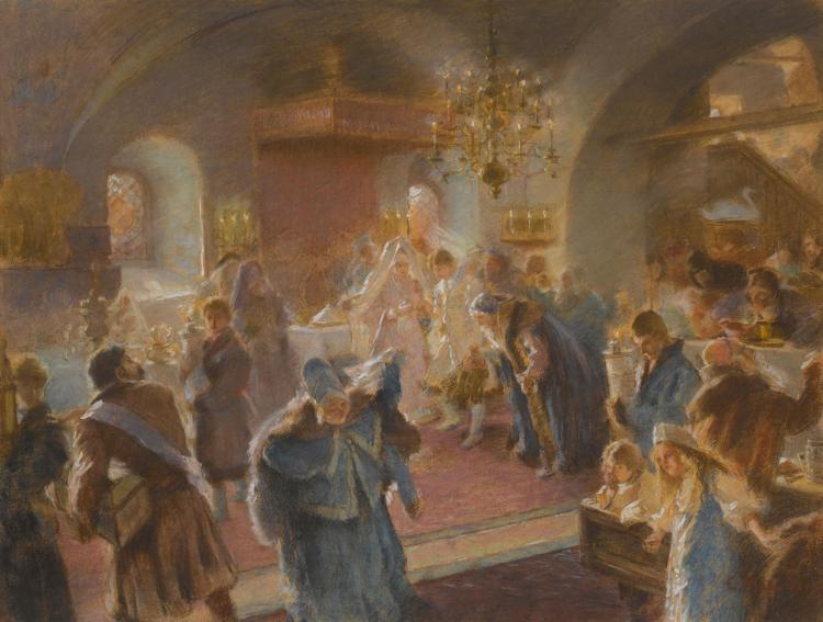 KONSTANTIN EGOROVICH MAKOVSKY | Study for Sprinkling the Hops