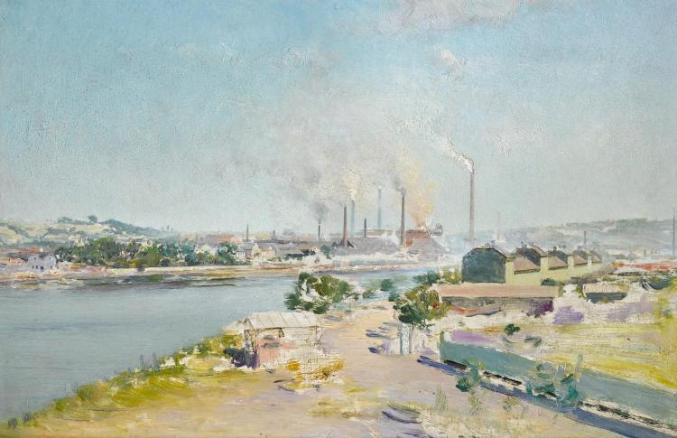 IVAN PAVLOVICH POKHITONOV   View over the Cockerill Plant at Seraing