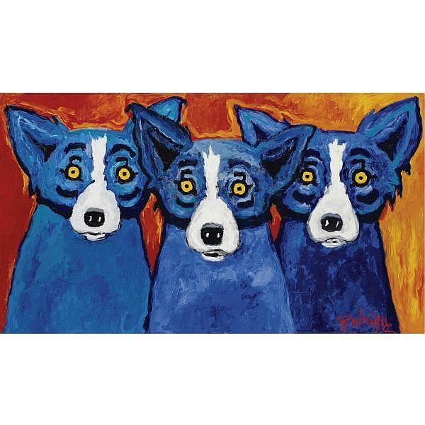 George Rodrigue , b.1944 I Hear the Blues, I See the Blues, I Sing the Blues acrylic on canvas