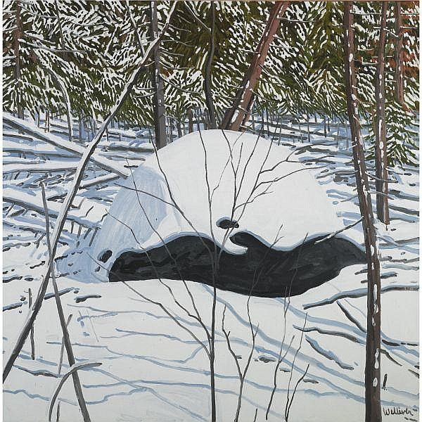 Neil Welliver , b. 1929 Erratic and Snow oil on canvas