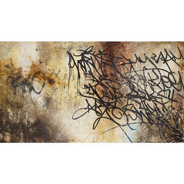 José Parlá , b. 1973 Marked by Inkstains mixed media on board