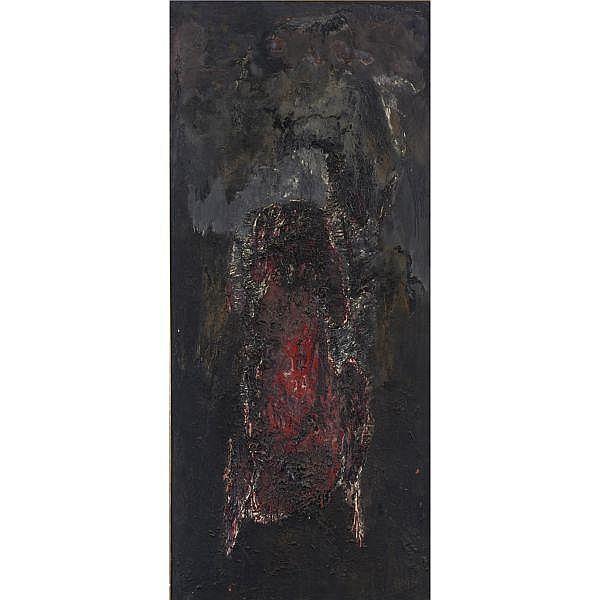 Sergio Vacchi , b. 1925 Figura Oscura oil and sand on canvas