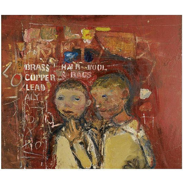 Joan Eardley, R.S.A. , 1921-1963 Brass, Hair and Wool oil and collage on board
