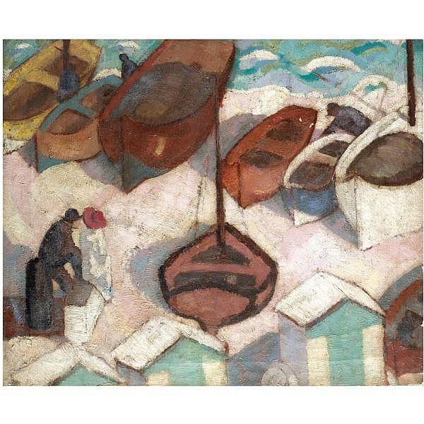 Margaret Morris , 1891-1980   boats at brighton oil on canvas