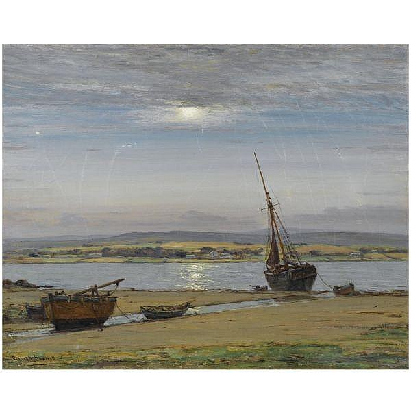 - Patrick Downie , 1845 - 1945 Moonlight on the Firth of Clyde oil on canvas, unframed