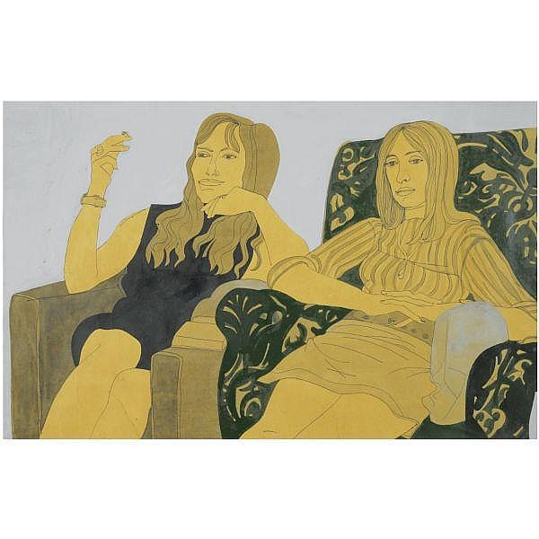 - Alasdair Gray , mother and daughter acrylic, pen, ink and wash on paper