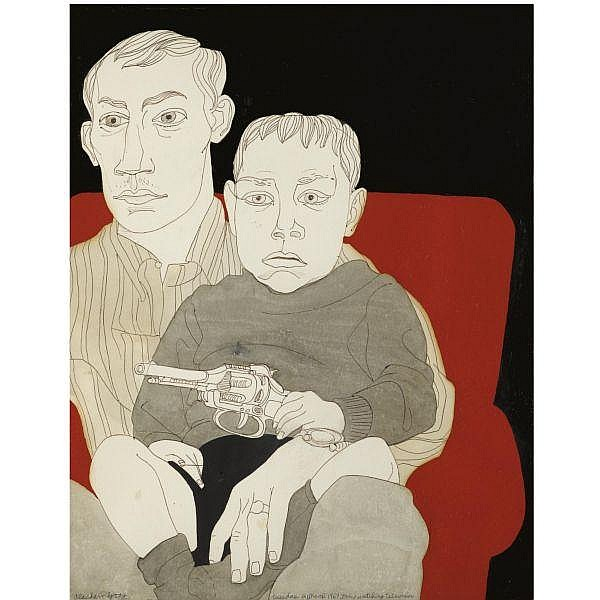 - Alasdair Gray , Erics Watching Television acrylic, pen, ink and wash on paper