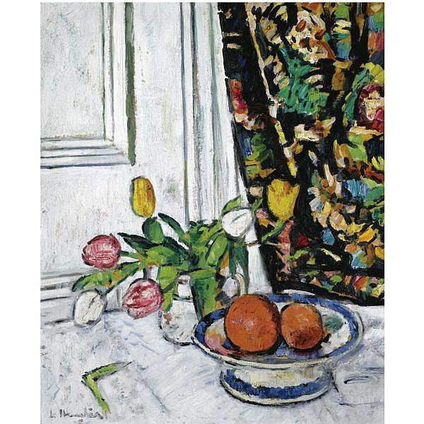 George Leslie Hunter , 1877 - 1931 Still LIfe with Tulips and Oranges oil on board