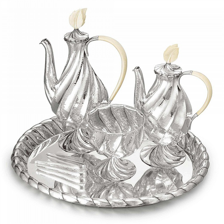 AN AUSTRIAN SILVER THREE-PIECE COFFEE SET AND TRAY, DAGOBERT PECHE FOR THE WIENER WERKSTATTE, VIENNA,  DESIGNED 1923