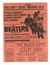 THE BEATLES —THE BEACH BOYS. CLOSED CIRCUIT CONCERT AT THE WASHINGTON COLISEUM, PROMOTIONAL POSTER. 14-15 MARCH 1964