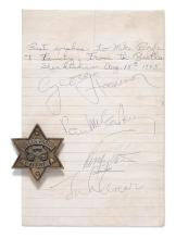 THE BEATLES. FULL BAND AUTOGRAPH FROM SHEA STADIUM, 15 AUGUST 1965