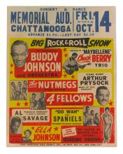 CHUCK BERRY. BIG ROCK AND ROLL SHOW CONCERT POSTER, CHATTANOOGA MEMORIAL AUDITORIUM, 14 OCTOBER 1955