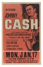 JOHNNY CASH. SALEM ARMORY CONCERT POSTER, 17 JANUARY 1966