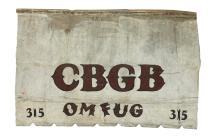 ORIGINAL HAND-PAINTED VINYL AWNING AS DISPLAYED ABOVE THE ENTRANCE OF CBGB OMFUG VENUE AT 315 BOWERY