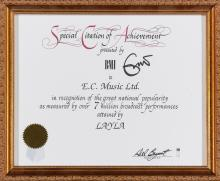 ERIC CLAPTON. A SPECIAL CITATION OF ACHIEVEMENT CERTIFICATE PRESENTED BY THE BMI TO E. C. MUSIC LTD.