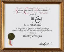 ERIC CLAPTON. A SPECIAL CITATION OF ACHIEVEMENT CERTIFICATE PRESENTED BY THE BMI TO E C. MUSIC LTD.