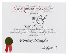 ERIC CLAPTON .A SPECIAL CITATION OF ACHIEVEMENT CERTIFICATE PRESENTED BY THE BMI TO ERIC CLAPTON