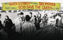 THE SEX PISTOLS. GOD SAVE THE QUEEN JUBILEE BOAT BANNER (1977)