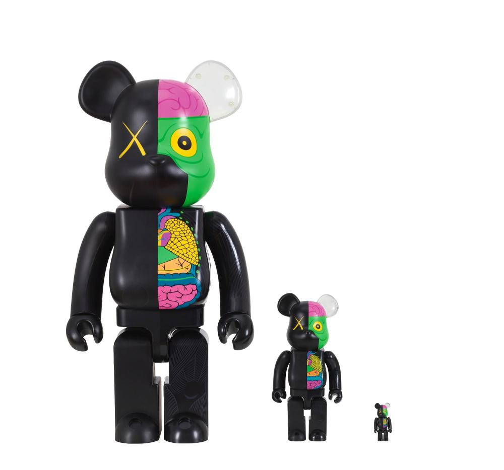 KAWS | i. 1000% Be@rbrick Dissected Companion/ ii. 400% Be@rbrick Dissected Companion/ iii. 100% Be@rbrick Dissected Companion (Black) (Three Works)