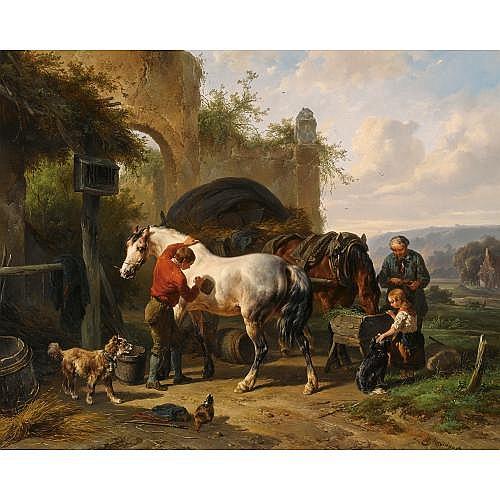 Wouterus Verschuur Dutch, 1812-1874 , tending the horses