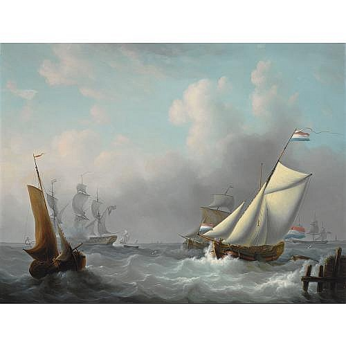 Martinus Schouman Dutch, 1770-1848 , sailing in choppy waters