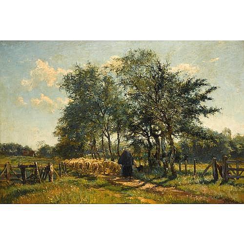 Franz Courtens Belgian, 1850-1943 , Le chemin des Bouleaux