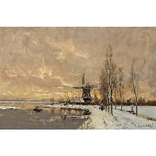 Fredericus Jacobus van Rossum du Chattel Dutch, 1856-1917 , windmills in a snow covered landscape