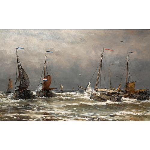 Hendrik Willem Mesdag Dutch, 1831-1915 , bomschuiten at sea