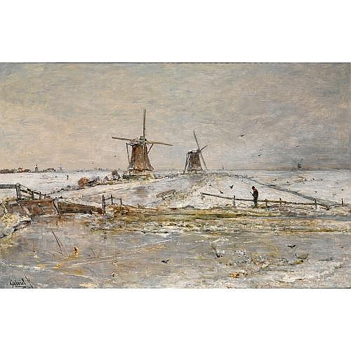 Paul Joseph Constantin Gabriel Dutch, 1828-1903 , snow covered windmills near overschie