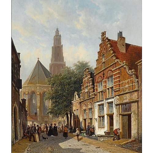Adrianus Eversen Dutch, 1818-1897 , elegant figures in a sunlit dutch town