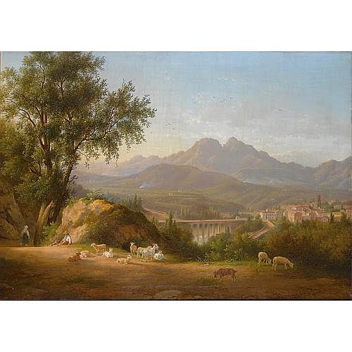 Abraham Alexandre Teerlink Dutch, 1776-1857 , a view of Cava dei Tirreni near Salerno, Italy