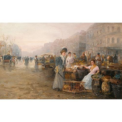 Emil Barbarini Austrian, 1855-1930 , figures on a flower market; a busy market (a pair)