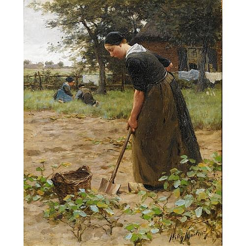 Willy Martens Dutch, 1856 - 1927 , at work in the garden