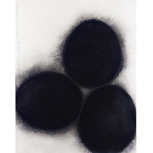 Donald Sultan , Black Eggs oil stick and charcoal on paper
