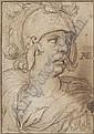 Hendrick Goltzius , Mülbracht (Bracht-am-Niederrhein) 1558 - 1617 Haarlem Tête de guerrier à l'antique Pierre noire   , Hendrick Goltzius, Click for value