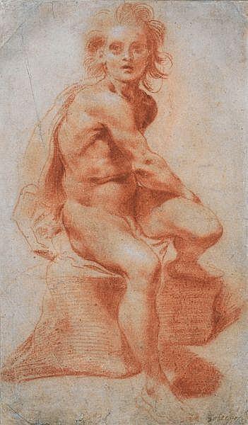 Pietro Faccini , Bologne vers 1562 - 1602 Homme nu assis Sanguine et traces de rehauts de craie blanche
