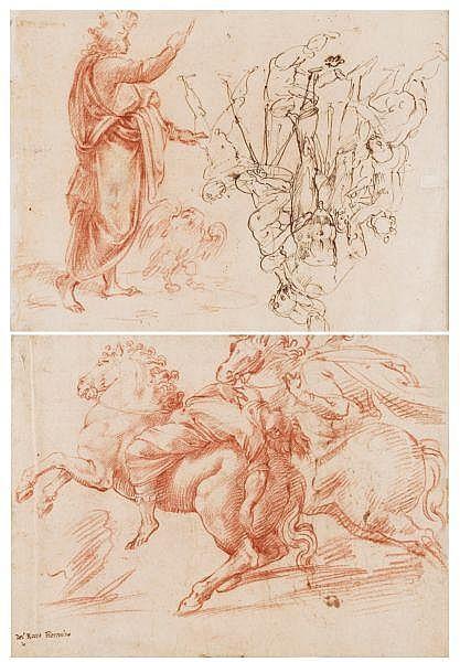 Francesco de' Rossi, dit Francesco Salviati , Florence 1510 - 1563 Rome Recto: Plusieurs jeunes enfants ajustant un mannequin, et saint Jean l'Evangéliste; Verso: Etude d'après l'antique avec deux cavaliers, l'un blessé et renversé par son cheval