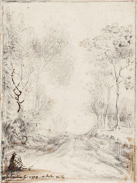 Gabriel de Saint-Aubin , Paris 1724 -1780   Un chemin dans les bois de Belleville Pierre noire, plume et encre brune, lavis brun