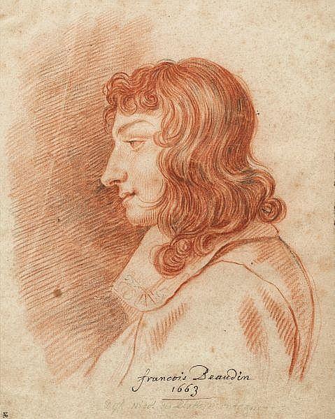 Nicolas de Plattemontagne , Paris 1631 - 1706 Portrait de François Beaudin, beau-frère de l'artiste Sanguine et pierre noire