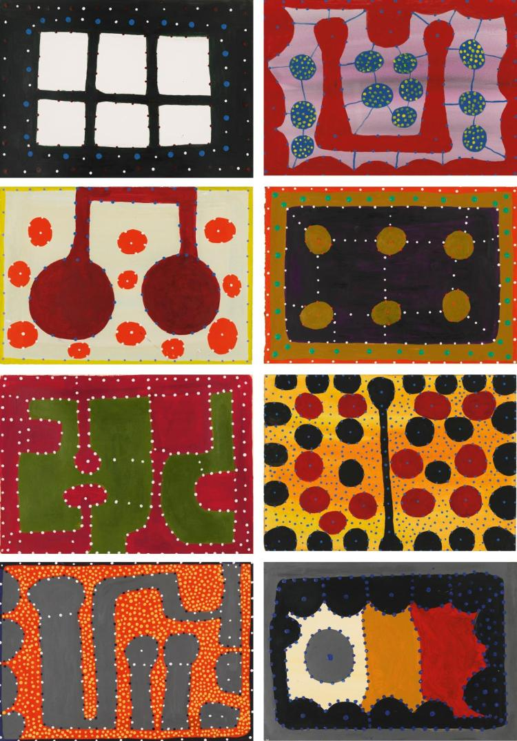 NGARRA CIRCA 1920-2008 | A Colletion of Eight Paintings, clockwise from top left: Barngalnganal Ngamangray and Marri Datal Kungkaberri (Waterlilly) Dancing Ground Ngamangray and Karngku in the Wet Season Djow (Bush Tobacco) Motaka.hedlyte (Motor Car Headlights)