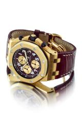 AUDEMARS PIGUET | A FINE LIMITED EDITIONYELLOW GOLD AUTOMATIC CHRONOGRAPH WRISTWATCH WITH DATE AND REGISTERS<br />CASE F01284 ROYAL OAK OFFSHORE ARNOLD SCHWARZENEGGER CIRCA 2003