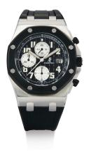 AUDEMARS PIGUET | A STAINLESS STEEL AND RUBBER AUTOMATIC CHRONOGRAPH WRISTWATCH WITH DATE AND REGISTERS <br />CASE F34185 ROYAL OAK OFFSHORE CIRCA2007